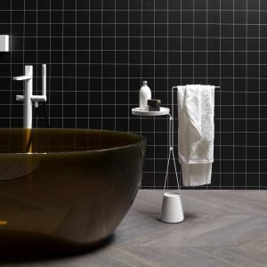 Halo is a family of freestanding accessories and tables that redefines the image of a multifunctional accessories for daily use inside the bathroom